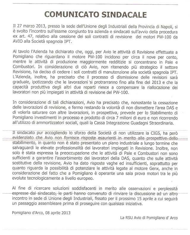 La fine della revisione motori aereonautici a Pomigliano. Comunicato Rsu Avio 8 Aprile 2013